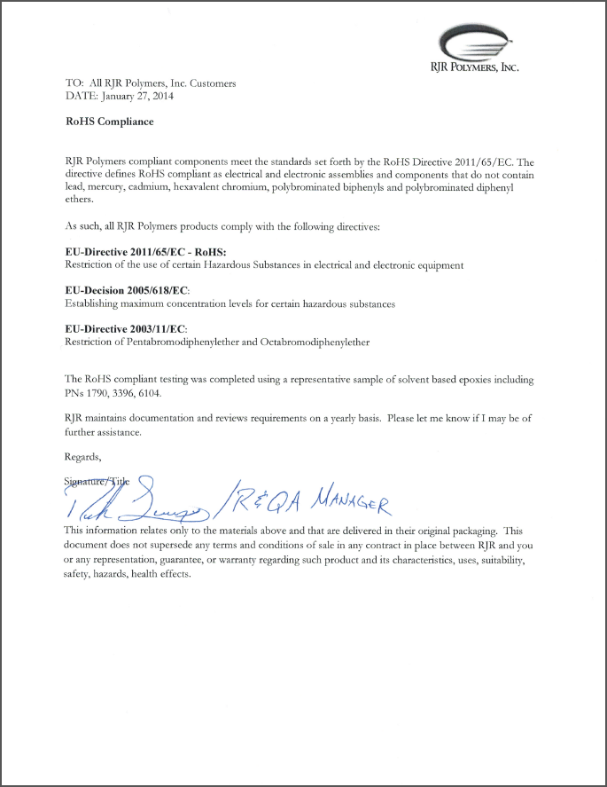 letter of compliance template rohs compliance letter template success
